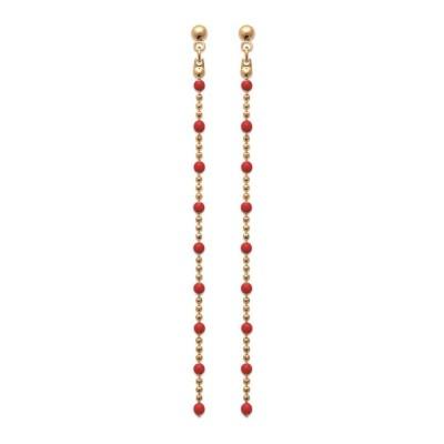 Boucles d'oreilles pendantes rouges en plaqué or - Bijoux femme