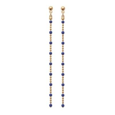 Boucles d'oreille pendantes pour femme, émail bleu & plaqué or - Pep's - Lyn&Or Bijoux