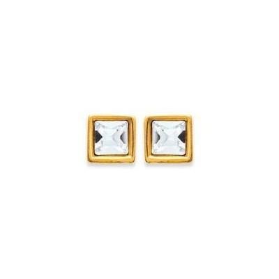 Boucles d'oreille puce swarovski carré, plaqué or