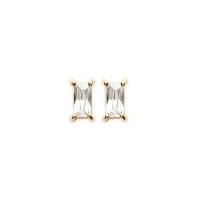 Boucles d'oreille puces zircon rectangle en plaqué or pour femme