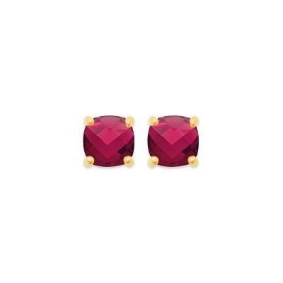 Boucles d'oreille rubis rouge synthétique carré et plaqué or pour femme