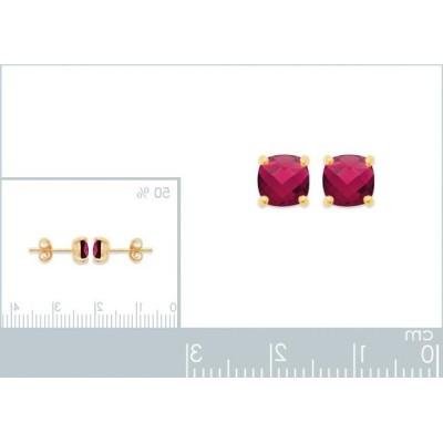 Boucles d'oreille rubis synthétique carré et plaqué or