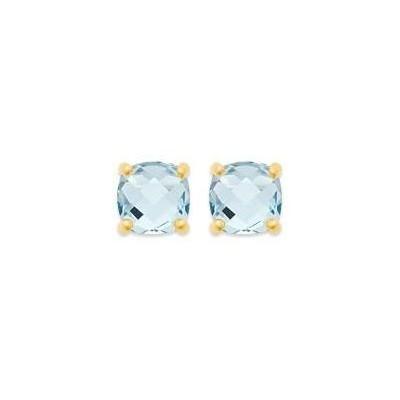 Boucles d'oreille femme, Aigue marine synthétique carrée & plaqué or - Ely - Lyn&Or Bijoux