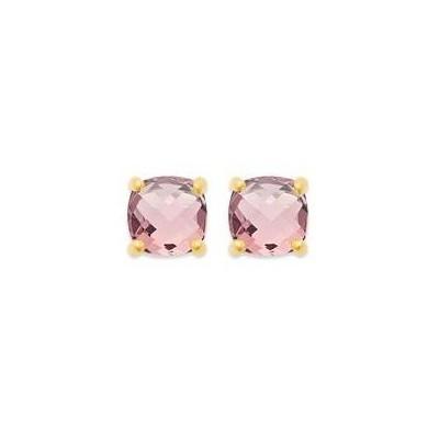 Boucles d'oreille pierre rose synthétique, plaqué or