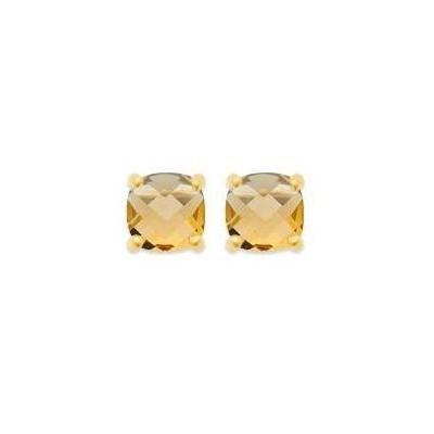 Boucles d'oreille femme, pierre jaune carrée & plaqué or - Ely - Lyn&Or Bijoux