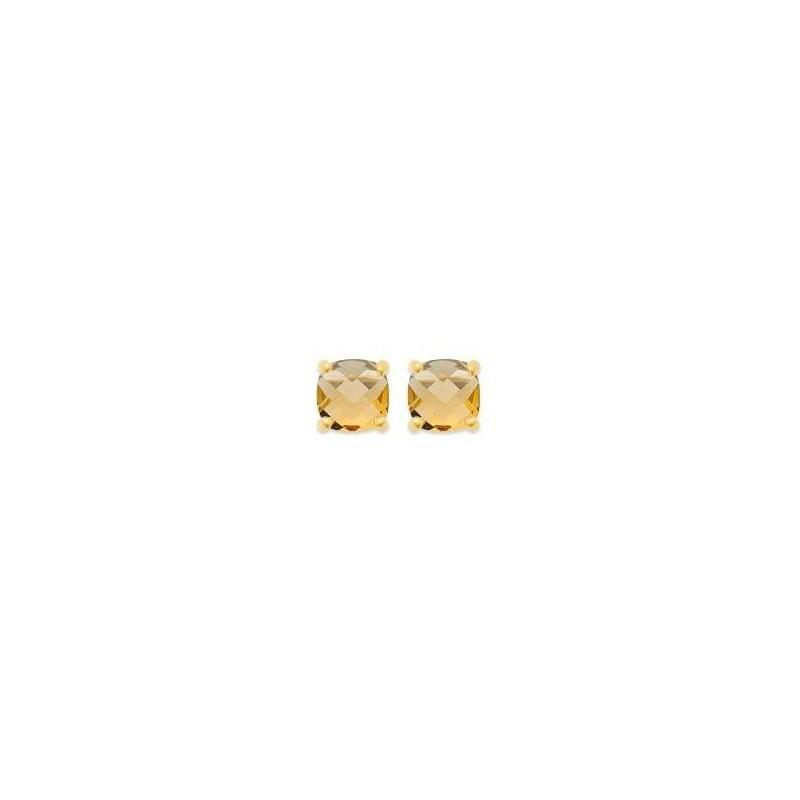 Boucles d'oreilles pierre jaune synthétique carrée et plaqué or - Bijoux femme