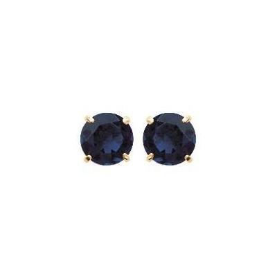Boucles d'oreille puces avec pierre bleu foncé synthétique 6 mm - Lyn&Or Bijoux
