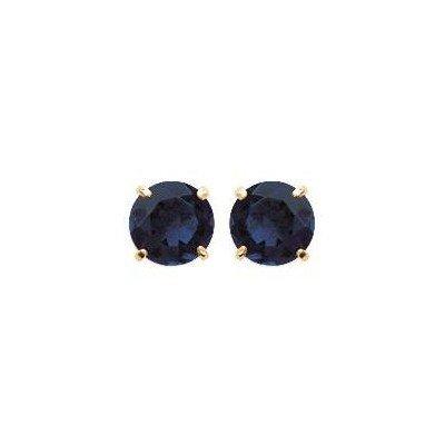 Boucles d'oreilles puces avec pierre bleu foncé synthétique 6 mm - Lyn&Or Bijoux