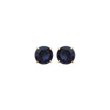 Boucles d'oreilles puces avec pierre bleu foncé synthétique 6 mm