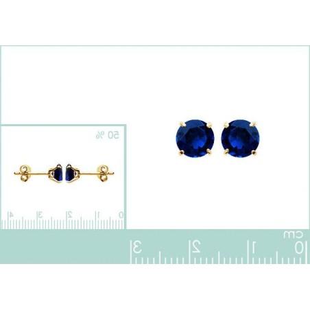 Boucles d'oreilles puces, pierre bleu synthétique 6 mm