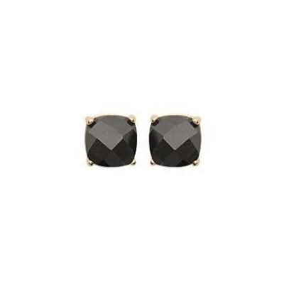 Puces d'oreilles zircon noir carré et plaqué or - Ely