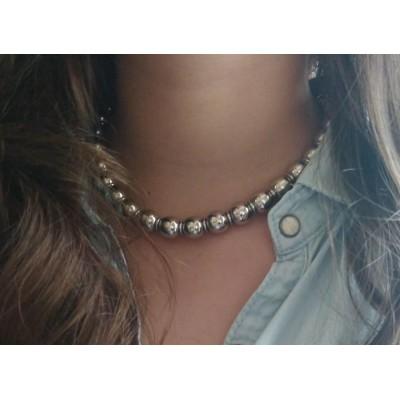 collier acier pour femme, perles acier gris