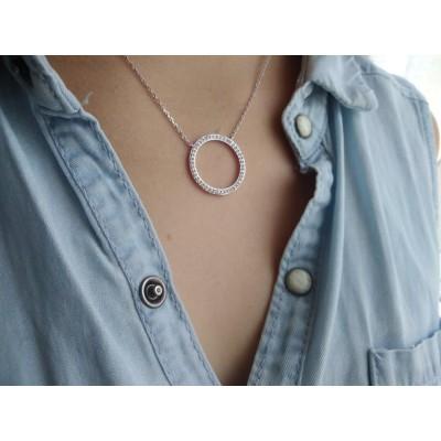 Collier pendentif cercle en argent et strass