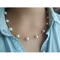 Collier mariage perles blanches pour femme