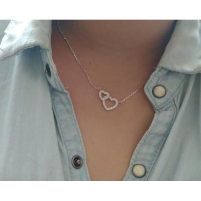 collier argent et zircon avec deux coeurs pour femme