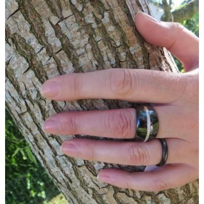 bague anneau noir pour femme en céramique