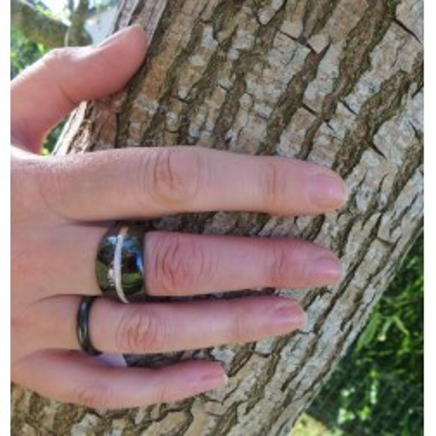 bague gaudron noire en céramique pour femme