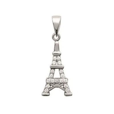 Pendentif femme en argent et zircon - Tour-Eiffel