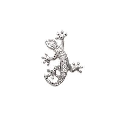 Pendentif femme en argent rhodié et zircon, Petite Salamandre