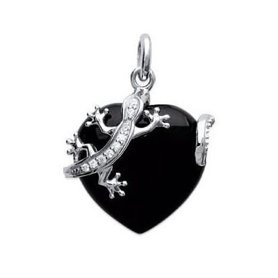 Pendentif coeur en argent, zircon, onyx synthétique pour femme - Salamandre - Lyn&Or Bijoux