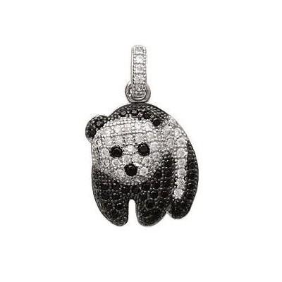 Pendentif femme en argent et zircon noir et blanc, Panda