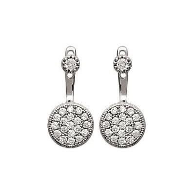 Lobes d'oreilles en argent rhodié et zircon pour femme - Dina - Lyn&Or Bijoux