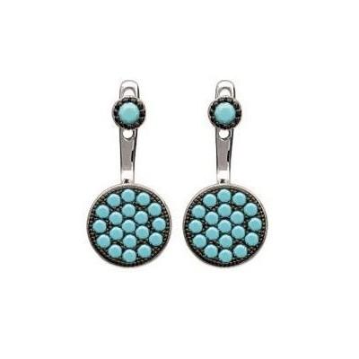 Boucles d'oreilles tendance pour femme en argent et turquoise synthétique, Dina