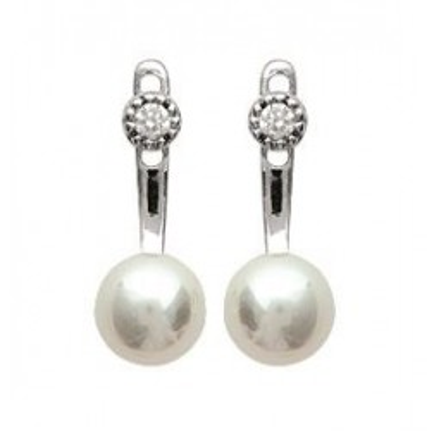Boucles d'oreilles tendance pour femme perles blanches et argent, Sabina