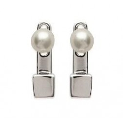 Boucles d'oreilles tendance pour femme en argent rhodié et perles blanches, Minava