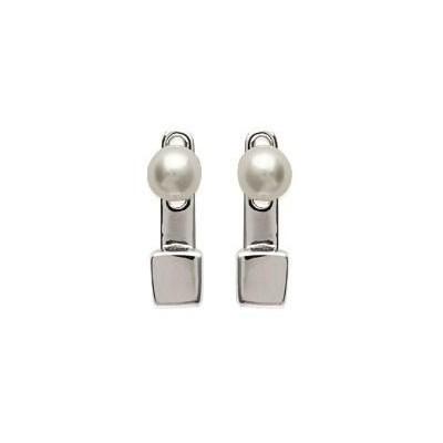 Lobes d'oreilles en argent rhodié et perles blanches pour femme - Minava - Lyn&Or Bijoux