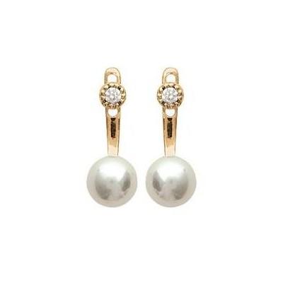 Boucles d'oreilles tendance pour femme plaqué or et zircon et perle, Sabina