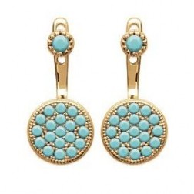 Lobes d'oreilles en plaqué or et turquoise synthétique pour femme - Dina - Lyn&Or Bijoux