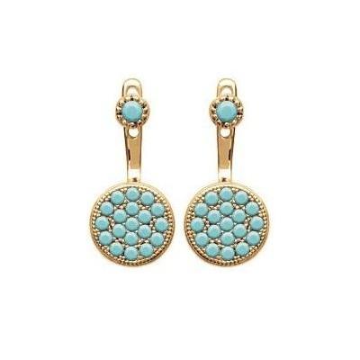 Boucles d'oreilles tendance pour femme en plaqué or et turquoise synthétique, Dina