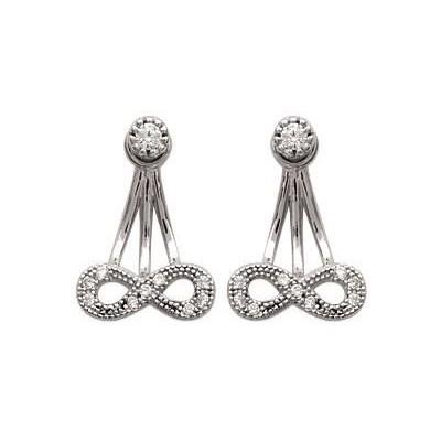Boucles d'oreilles tendance pour femme en argent rhodié et zircon, Infini