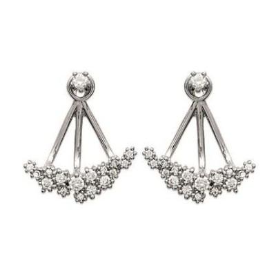 Boucles d'oreilles tendance pour femme en argent rhodié et zircon, Erina
