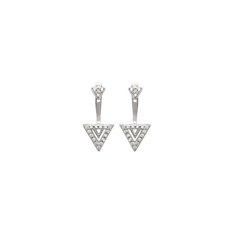 Boucles d'oreilles tendance pour femme triangle, en argent rhodié et zircon, Léna