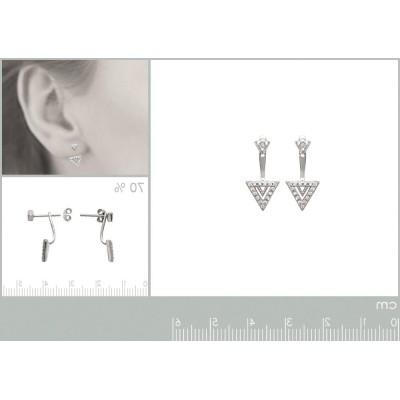 Lobes d'oreilles triangle, en argent rhodié et zircon pour femme, Léna
