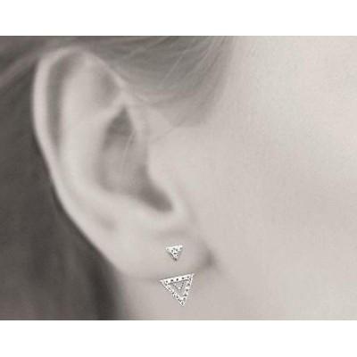 Boucles, lobes d'oreilles triangle, en argent rhodié et zircon pour femme, Léna