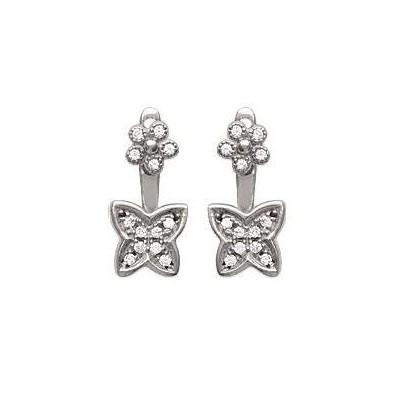 Boucles d'oreilles tendance pour femme fleurs en argent rhodié et zircon, Manille