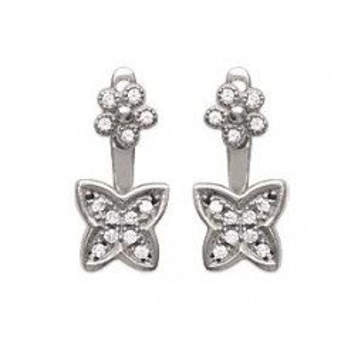 Lobes d'oreilles fleurs en argent rhodié et zircon pour femme - Manille - Lyn&Or Bijoux