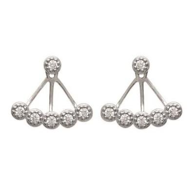 Lobes d'oreilles en argent rhodié et zircon pour femme - Dona - Lyn&Or Bijoux