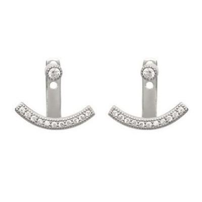 Boucles d'oreilles tendance pour femme en argent rhodié et zircon, Piala