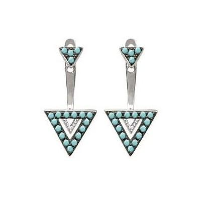 Lobes d'oreilles triangle, en argent et turquoise pour femme - Léna - Lyn&Or Bijoux
