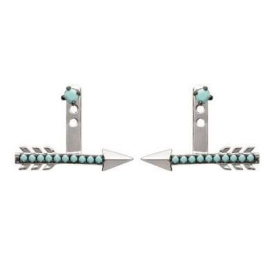 Boucles d'oreilles tendance pour femme en argent et turquoise synthétique, Flèche