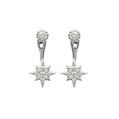 Lobes d'oreilles en argent rhodié et zircon - Estrella - Lyn&Or Bijoux