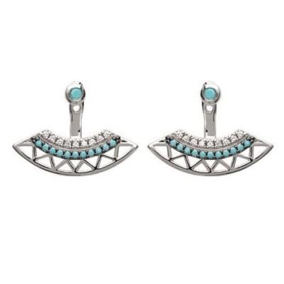 Lobes d'oreilles avec turquoise pour femme - Dona - Lyn&Or Bijoux