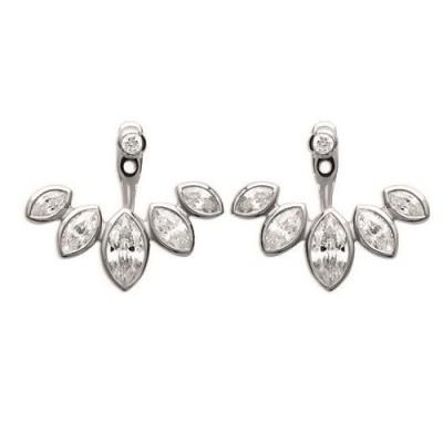Boucles d'oreilles tendance pour femme en argent rhodié et zircon, Ysena