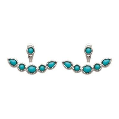 Boucles d'oreilles tendance pour femme turquoises et argent, Chino