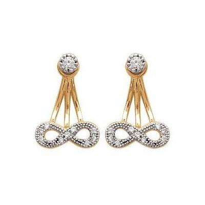 Boucles d'oreilles tendance pour femme plaqué or et zircon, Infini