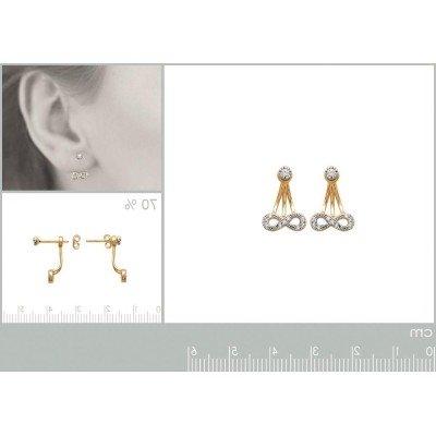 Lobes d'oreille plaqué or et zircon pour femme, Infini - Lyn&Or Bijoux